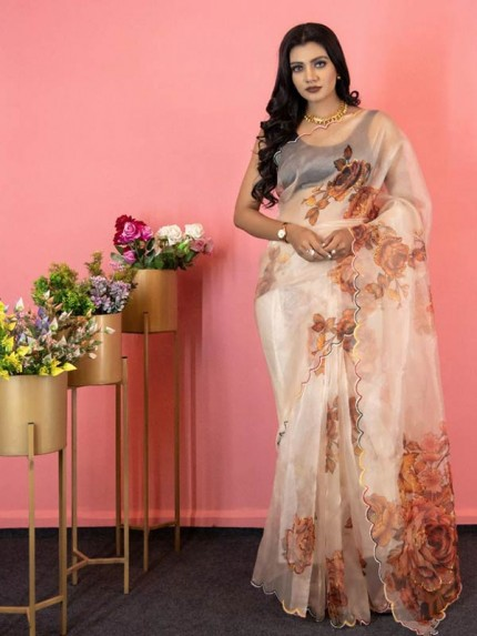 Classic Look Soft pure Organza Sequence work Digital printed Saree