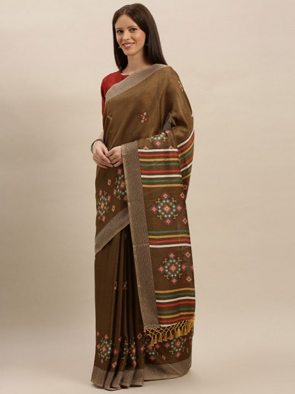 Traditional Look Brown Colour Jute Silk Printed Ikat Saree