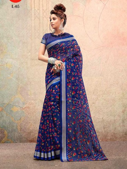 Festival Style Multi Color Linen Sartin Printed Saree