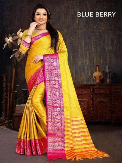 Designer Look Multi Color Cotton Silk With weaving Border