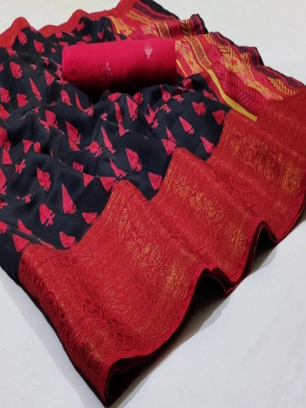 Attractive Look Cotton Silk Saree with Weaving Border In Antiques Zari
