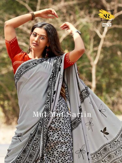 Classic Look Grey  Color Pure Sattin Silk With Floral Print Saree