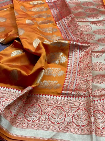Orange Colored Beautiful Pure Weaving Silk Meenakari Design Saree