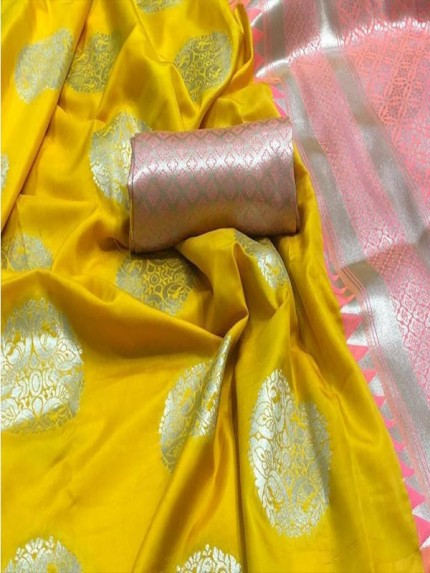 Beautiful Look Yellow Color Lichi Silk weaving Jacquard Saree