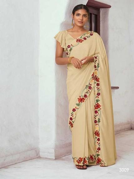 Wedding Designer Cream Color Soft Silk with Resham Embroidery