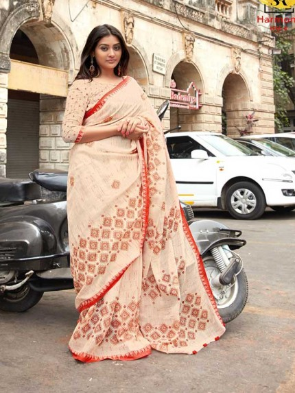 Festival Look Off White color Handloom Catonic Slub Linen With Weaving Border Saree