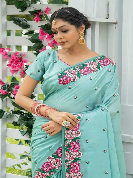 Married Season Cyan Colour  Fancy embroidered work sarees