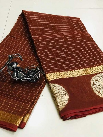 Stunning Brown Color Soft Linen Silk Saree