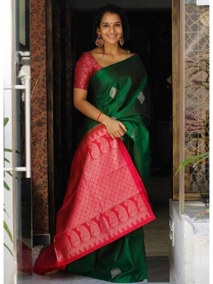 Embossed Look Cotton Silk Saree with Rich Pallu