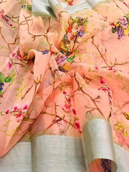 Beautiful Pure Organza Digital Print Pink Colour Saree