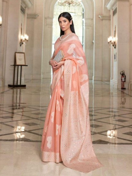 Lucknowi Stunning Look Modal Chikankari Weaving Saree
