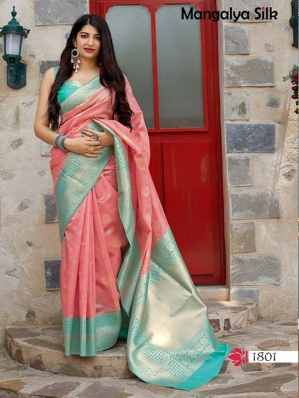 Wedding Season Peach Colour Soft Silk weaving Saree