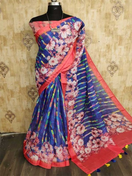 New Trending Multi Colour Pure Linen Digital With Rich Design  Saree