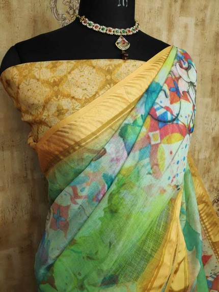 Unique Style Multi Color  Pure Linen With Digital HD Print