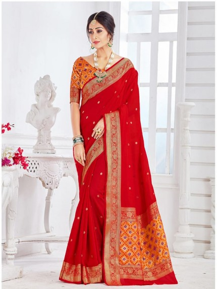 New Trending Red Colour Soft Weaving Cotton With Patola pallu