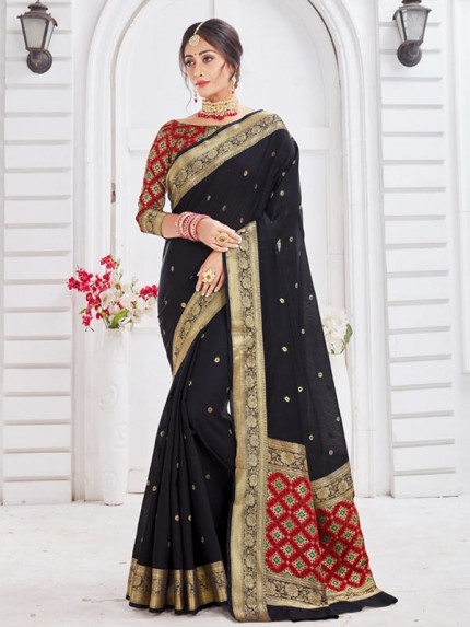 New Trending Black Colour Soft Weaving Cotton With Patola pallu