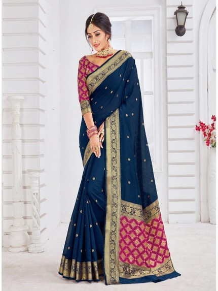 New Trending Blue Colour Soft Weaving Cotton With Patola pallu