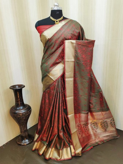Classic Look Multi Color Satin Silk Saree With AllOver weaving work