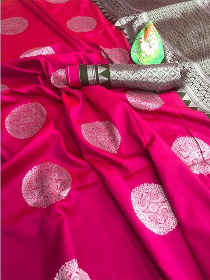 Beautiful Look Pink Color Lichi Silk weaving Jacquard Saree