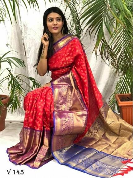 Attractive Look Rich And Premium Quality  Kanchipuram Silk Saree
