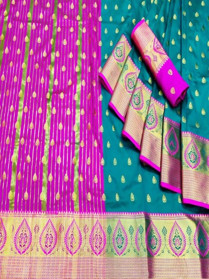 Finnest Look Soft & Silky weaving Saree with Double Zari