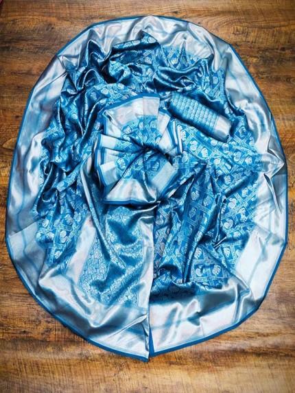 Attractive Look Banarsari Silk weaving Saree with heavy  Pallu