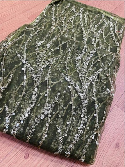 Premium Soft Net Sequence Work Saree with Moti n glitter work with nice silver piping