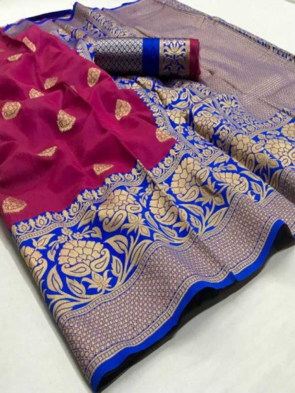 Wedding Designer Pink Color pure  soft silk weaving Saree