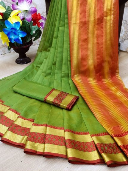 Festival Look Soft Cotton Silk Saree with ordinary Blouse