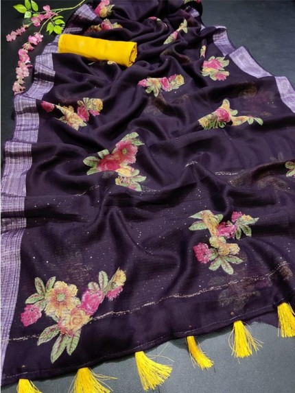 Floral Style Pure Linen Saree with weaving Sequence