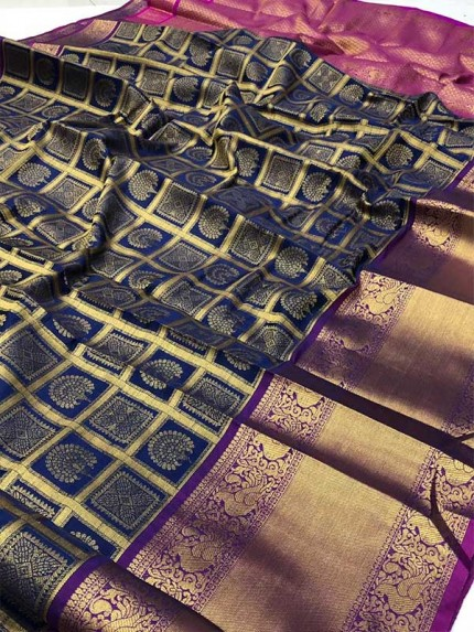 Attractive Look Blue  Colour Kanchipuram style Banarasi Silk weaving saree with beautiful zari work