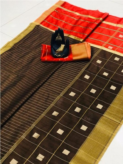 Latest Traditional Look Brown Color Soft & Pure Silk Saree With Beautiful Zari Weaving Golden Border