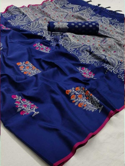 Married Season Blue Color Soft Weaving Silk Saree