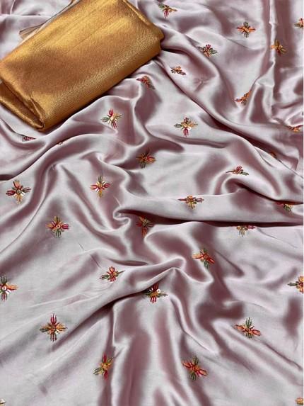 Designer Look Sattin Silk Saree with Beautiful embroidery work