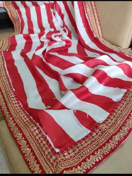 Rajwada Style Satin georgette Saree with sequins handwork border