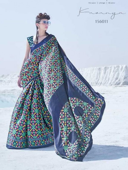 Multi Colored Japanese  Satin  Crepe Silk  Fabric Printed Saree