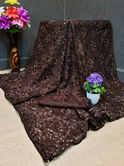 Fancy Look Ruffle Jequared Saree With Stone Work