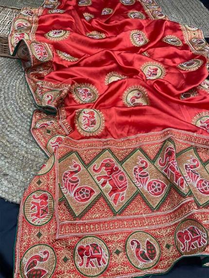 Stunning Look Satin Silk Saree with embroidery work & Zari Border