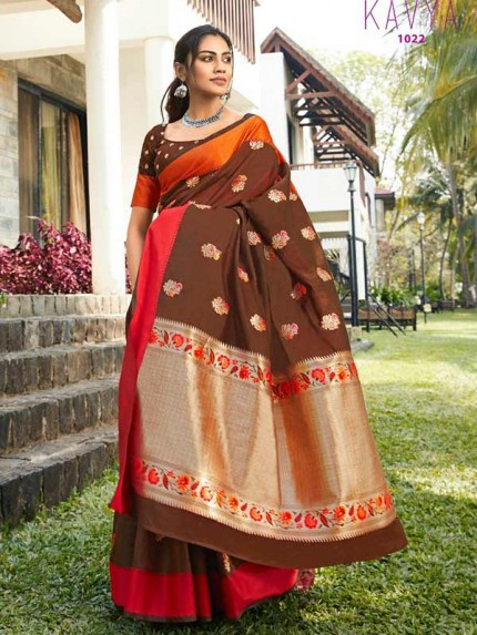 Eye-Catching Look Brown color Soft Linen Silk weaving Saree