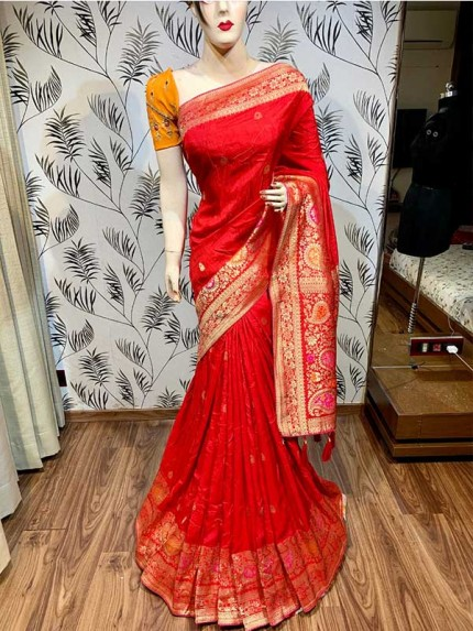 Latest Traditional Look Red Color Pure Natural Dola Silk Saree  With Heavy Embroidery Work Blouse