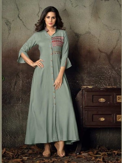 Grey Color Heavy Rayon Long Kurti with Embroidery Work
