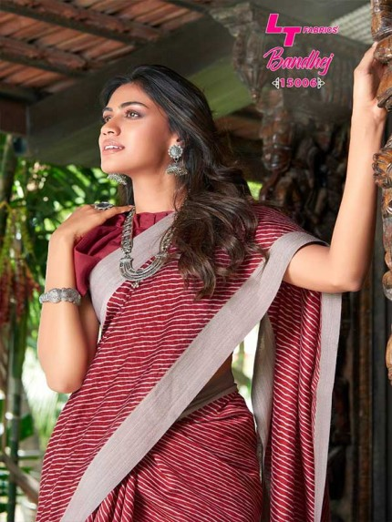 Stunning Maroon Color Soft Linen Silk Saree