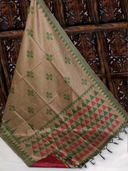 Beautiful Brown Handloom Raw Silk Weaving Saree With All Over Resham Weaving