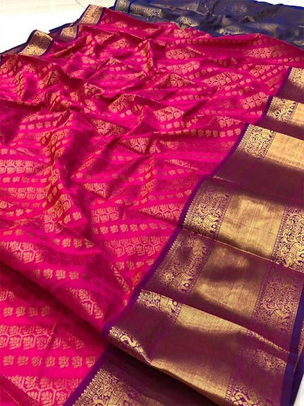 Attractive Look Pink  Colour Kanchipuram style Banarasi Silk weaving saree with beautiful zari work