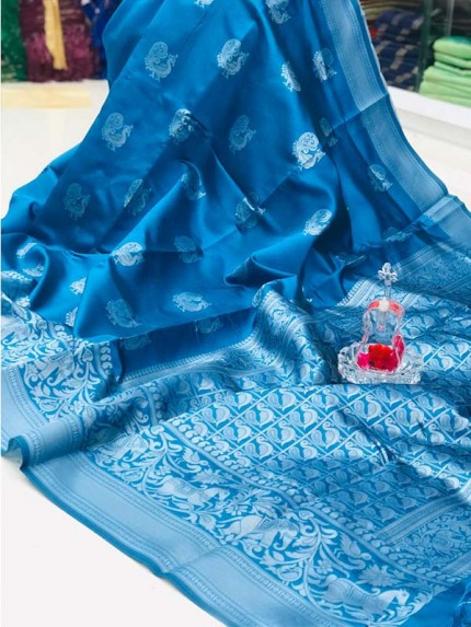 Elegance Look SkyBlue Color Soft banarsari Silk Saree With  weaving work