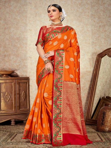 Wedding Designer Orange   Color pure  soft silk weaving Saree