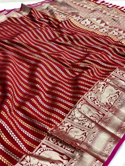 Festival Look Red color Pure Jacquard Resham zari work Saree