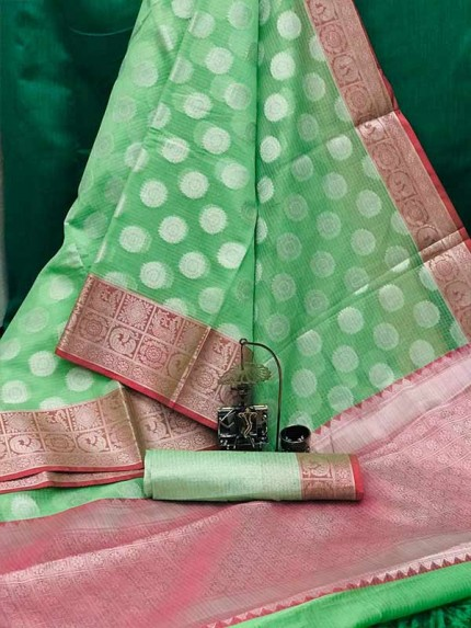 Stunning Green Color Soft  Kotta Weaving Handloome Saree With Rich Pallu