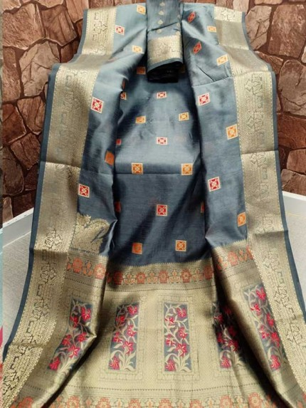Stunning Grey Color Cotton Silk Saree Full Weaving Work
