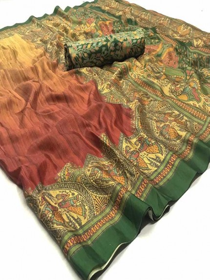 Stunning Multi Color Dola Silk Saree